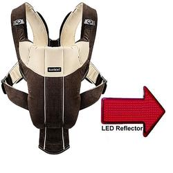 Baby Bjorn 026143US Baby Carrier Active with LED Safety Reflector Light - Dark Brown/Beige Corduroy