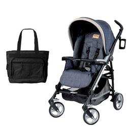 Peg Perego Pliko Four with a Diaper Bag - Denim