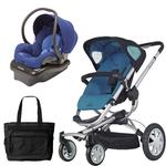 Quinny CV155BFW Buzz 4 Travel System in Blue Scratch with a Diaper Bag