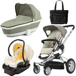 Quinny CV155BFY Buzz 4 Travel System and Dreami Bassinet in Natural Mavis with Diaper Bag