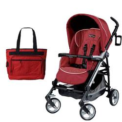 Peg Perego Pliko Four with a Diaper Bag - Geranium Red