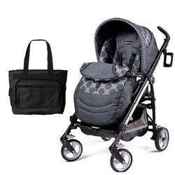 Peg Perego Switch Four with a Diaper Bag - Pois Grey