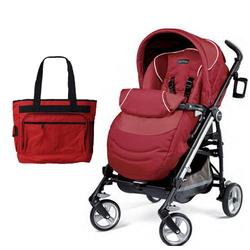 Peg Perego Switch Four with a Diaper Bag - Geranium Red