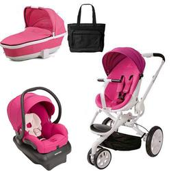 Quinny CV078BFU Moodd Stroller Travel System and Tukk Bassinet in Pink Passion with Diaper Bag