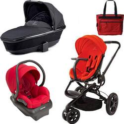 Quinny CV078BHR Moodd Stroller Travel System and Bassinet in Red Envy with Diaper Bag