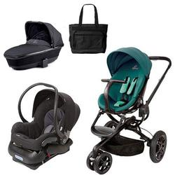 Quinny Moodd Stroller Travel System and Dreami Bassinet in Green Courage with Diaper Bag