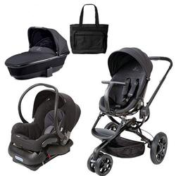 Quinny Moodd Stroller Travel System and Dreami Bassinet in Black Devotion with Diaper Bag