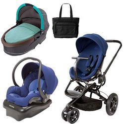 Quinny Moodd Stroller Travel System and Dreami Bassinet in Blue with Diaper Bag