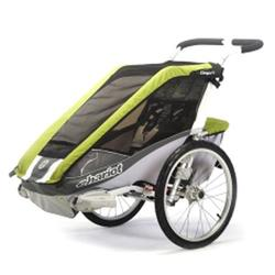 Chariot 10100919, Cougar 2 Chariot's deluxe model 2 child CTS Chassis only - Avocado/Silver/Grey