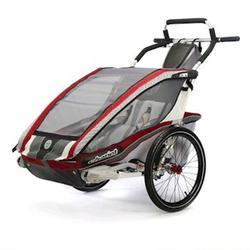 Chariot 10101308, CX 2 Chariot's ultra deluxe 2 child CTS Chassis only - Burgundy/Grey/Silver