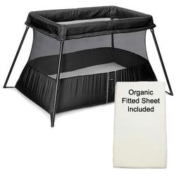 Baby Bjorn 040180US Travel Crib Light 2 - Black With Organic Fitted Sheet Kit