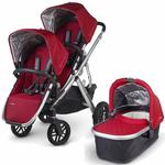 UPPAbaby 0112-DNY Denny VISTA Double Stroller Kit with Bassinet - Red