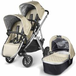 UPPAbaby 0112-LSY Lindsey VISTA Double Stroller Kit with Bassinet - Wheat