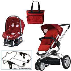 Quinny Rebel Red Buzz 3 Travel System w/Peg Perego Geranium Red Car Seat & Bag