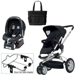 Quinny Rocking Black Buzz 3 Travel System w/Peg Perego Nero Black Car Seat & Bag