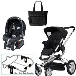 Quinny Rocking Black Buzz 4 Travel System w/Peg Perego Nero Black Car Seat & Bag