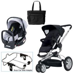 Quinny Rocking Black Buzz 3 Travel System w/Britax Black/Silver Car Seat & Bag
