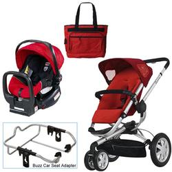 Quinny Rebel Red Buzz 3 Travel System w/Britax Red Car Seat & Diaper Bag
