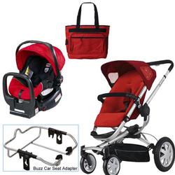 Quinny Rebel Red Buzz 4 Travel System w/Britax Red Car Seat & Diaper Bag
