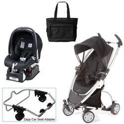 Quinny Rocking Black Zapp Xtra Travel System w/Peg Perego Black Car Seat & Bag