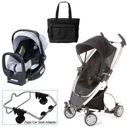 Quinny Rocking Black Zapp Xtra Travel System w/Britax Silver Car Seat & Bag