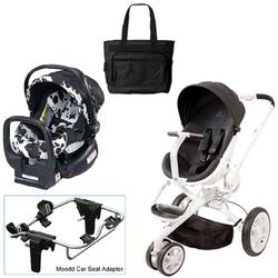 Quinny Black Irony Moodd Travel System W Britax Cowmooflage Car Seat Diaper Bag