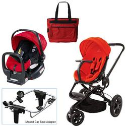 Quinny Red Envy Moodd Travel System with Britax Red Car Seat & Diaper Bag