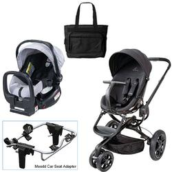 Quinny Black Devotion Moodd Travel System w/Britax Silver Car Seat & Bag