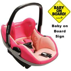 Maxi-Cosi IC090BIW Prezi Infant Car Seat w/Baby on Board Sign - Passionate Pink