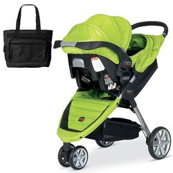 Britax S874400 - B-Agile and B-Safe Travel System with matching car seat and diaper bag in Kiwi