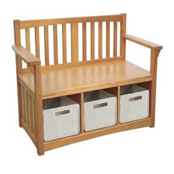 Guidecraft G86407 Mission Storage Bench With Baskets