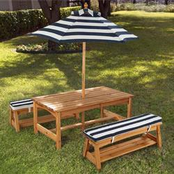 KidKraft 00106 Outdoor Table & Bench Set w/ Cushions/Umbrella