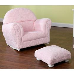 Kidkraft 18660, Pink Chenille Upholstered Rocker & Otto with Headrest Slip Cover