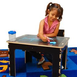 Anatex FTD0568 Flip Top Dry Erase and Chalk Table with 1 Bench (NATURALONLY)
