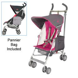 Maclaren WDN01042, Volo Stroller with Pannier Bag in Fuchsia Charcoal