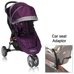 Baby Jogger BJ11228 City Mini Single in Purple/Gray with Car Seat Adapter