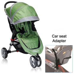 Baby Jogger BJ11240 City Mini Single in Green/Gray with Car Seat Adapter