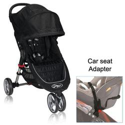 Baby Jogger BJ11210 City Mini Single in Black/Gray with Car Seat Adapter