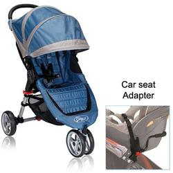 Baby Jogger City Mini Single in Blue/Gray with Car Seat Adapter