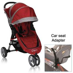 Baby Jogger BJ11236 City Mini Single in Crimson/Gray with Car Seat Adapter