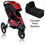 Baby Jogger BJ80633 Summit XC Single Jogging Stroller in Red/Blk w/Blk Bassinet