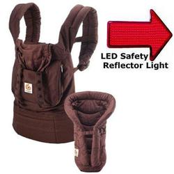 Ergo Baby BCII9TODCKN, Bundle of Joy Organic Carrier and Insert in Dark Chocolate with LED Safety Reflector Light