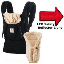 Ergo Baby BCII6CANL, Bundle of Joy Original Carrier and Insert in Black/Camel with LED Safety Reflector Light