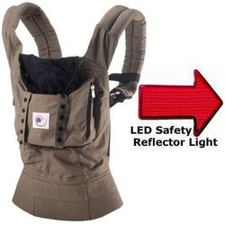 Ergo Baby BC25200, Original Baby Carrier in Aussie Khaki with LED Safety Reflector Light