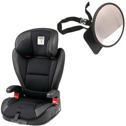 Peg Perego VIAGGIO HBB 120 Car Seat in Licorice - Black Leather w/ Back Seat Mirror