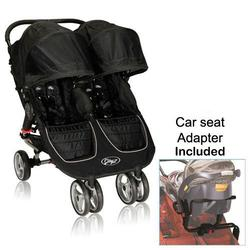 Baby Jogger 12210 City Mini Double Stroller in Black-Gray with Car Seat Adapter