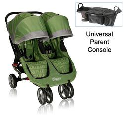 Baby Jogger 12240 City Mini Double Stroller in Green-Gray with Parent Console