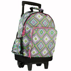 Wildkin 44115 Pink Retro High Roller Rolling Backpack
