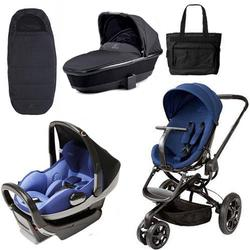 Quinny Moodd Blue Reliance - Prezi Black Blue - Tukk Bassinet Black - Footmuff Black and Diaper Bag