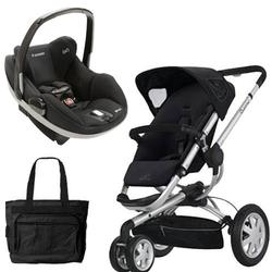 Quinny CV155RKB Buzz 3/Prezi Travel System in Rocking Black with Diaper Bag